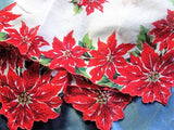 1950s COLORFUL Christmas Vintage Handkerchief Holiday Printed Hankerchief Red Poinsettas Hankie Xmas Hanky Hankies