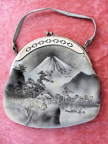Antique 1920s Purse Hand Bag Japan Souvenir Mount Fuji Lovely Vintage Bag Collectible Purses HandBags