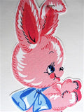 40s Pink Bunny Hand Screen Fabric Applique  AppliKay Cut Outs Home Needlecraft Creation Number 132 Frame or Use For Sewing Decorating Kawaii