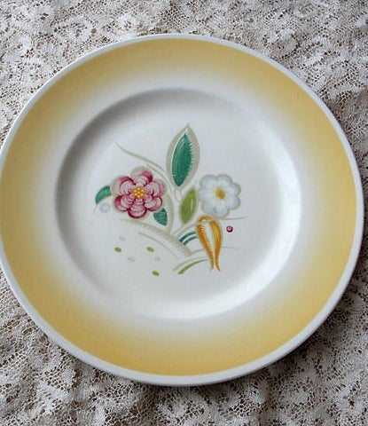 CHARMING Vintage 1930s SUSIE COOPER Art Deco Painted Plate Crown Works Burslem Dinnerware Kitchenware Chic Cottage Decor