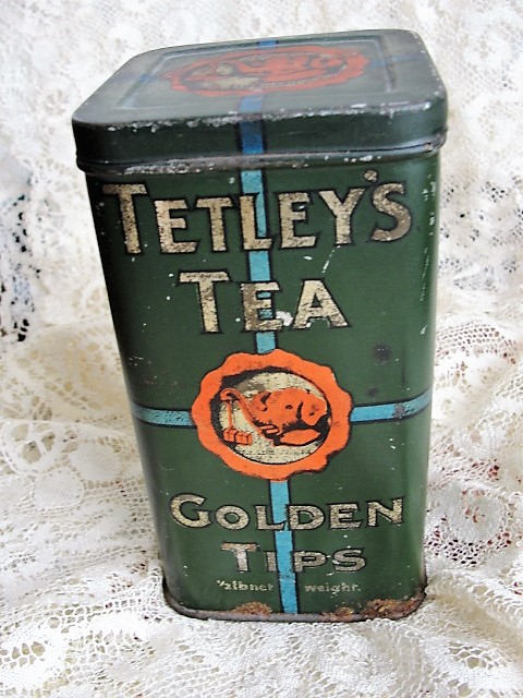 CHARMING English Antique TETLEY TEA Hinged Lid Canister Tin Te Caddy Tin Half Pound Golden Tips Tin Farm House Decor Advertising Tea Tin