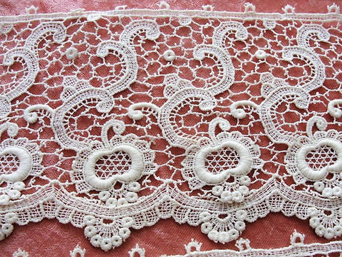 Antique BEAUTIFUL Lace Cotton Trim Delicate Intricate Pattern Ideal For Dolls,Christening Gowns, Bridal ,Heirloom Sewing Antique Textiles