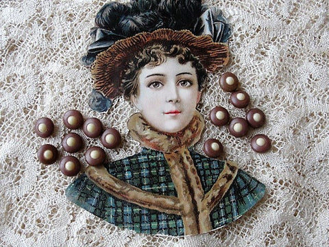 Beautiful 1900s Antique BUTTONS Set of 15 Tiny Two Tone CELLULOID Buttons Doll Size Perfect French Bebe Tiny Buttons Collectible Buttons