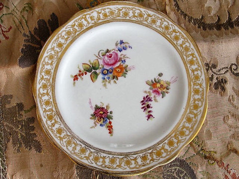 LOVELY Antique Tea Plate Hand Painted Flowers DRESDEN SPRAYS Hammersley English Bone China Replacement China, Romantic Cottage Decor