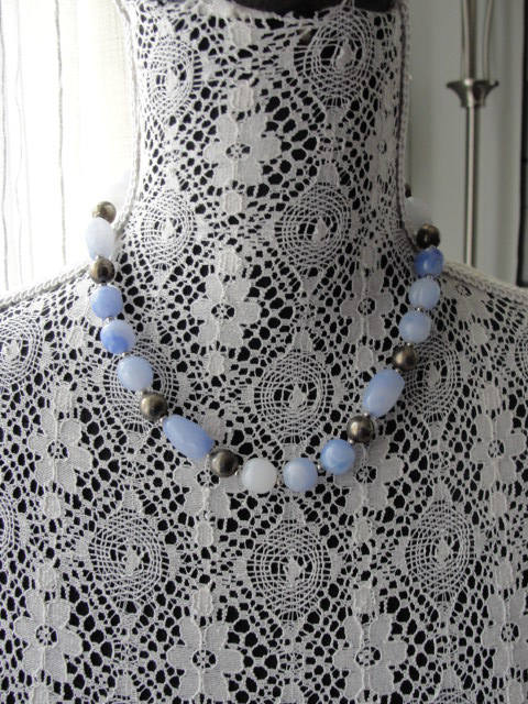 Vintage 1960s Blue Opal-like and Silver Beaded Necklace