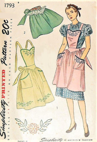 1940s CHARMING Aprons Pattern SIMPLICITY 1793 Three Pretty  Apron Styles Includes Embroidery Transfer Vintage Sewing Pattern