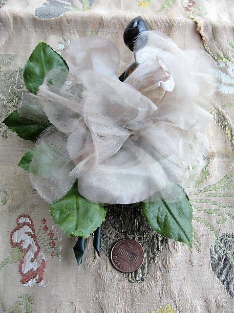 BEAUTIFUL Antique Large Flower Corsage,1930s Rose Corsage,Vintage Millinery Flowers, Fabric Flowers, Photo Prop,Wedding Floral, Collectible