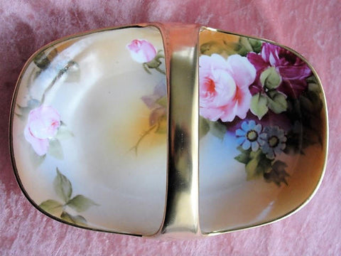 FABULOUS Antique NIPPON Handled Basket Dish Gorgeous Hand Painted Pink Roses Flowers Lush Gold Handle Collectible Nippon China