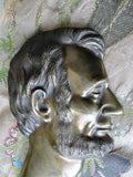 ANTIQUE Bronze Abraham Lincoln Bust Plaque High Relief Decorative Lovely Patina Historical Americana Presidential Collectible Office Decor