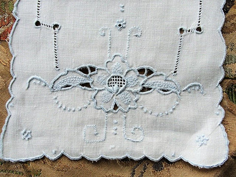 VINTAGE Madeira Creamer and Sugar Tray Cloth Mat Doily Blue Hand Embroidered Seed Embroidery Cottage Farmhouse Decor Vintage Table Linens