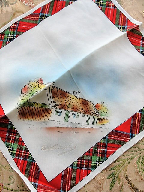 Vintage SCOTTISH SOUVENIR HANDKERCHIEF Scotland Trip Souvenir Robert Burns Cottage Hanky Tartan Border Hankie Collectible Vintage Hankies