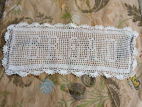 Antique VICTORIAN Fine Crochet BREAD Doily Beautiful Hand Made Crochet Lace Farmhouse Decor Kitchen Dining Doily Collectible Doilies