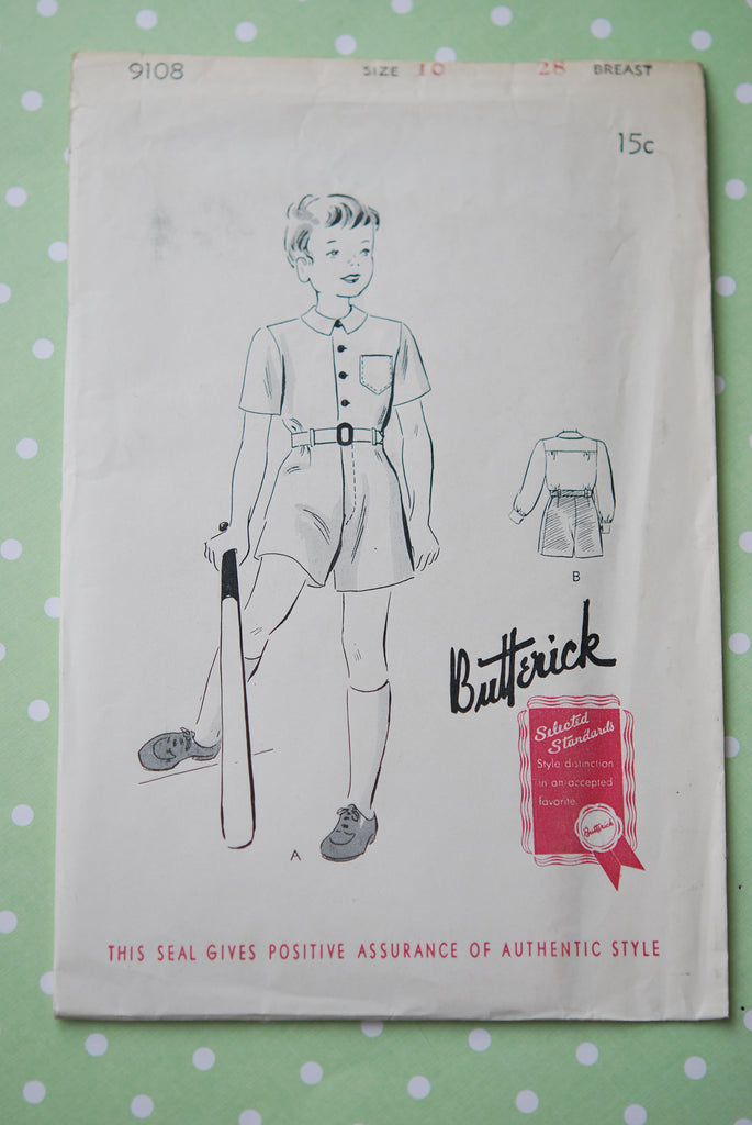 1930s Vintage Little Boys Suit and Belt Dick and Jane Style Butterick 9108 Factory Folded Sewing Pattern