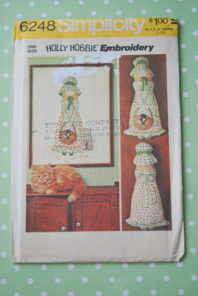 1970s Retro Holly Hobbie Embroidery and Pillow Doll Craft Pattern Simplicity 6248 Sewing Pattern