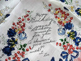 50s VINTAGE Printed HAPPY BIRTHDAY Blue Flowers Hanky, Colorful Floral Handkerchief , Collectible Hankies, Shabby Chic Hankies To Collect