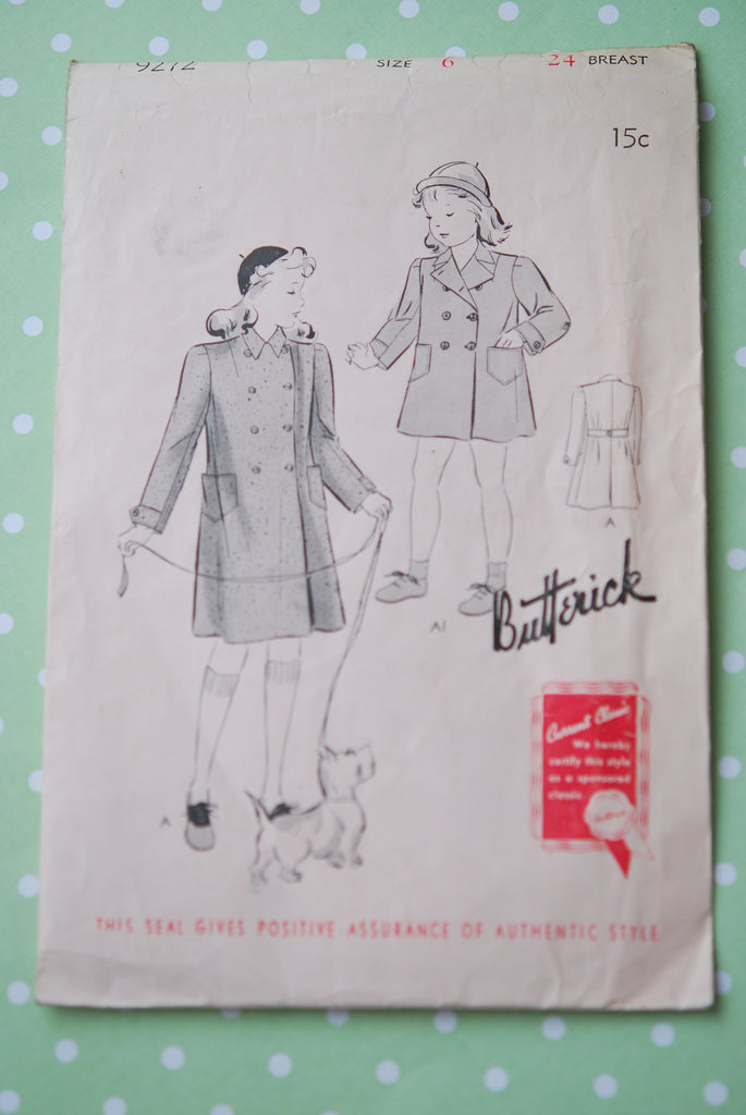 1940s Children's Coat Pattern Vintage Butterick 9272 Sewing Pattern