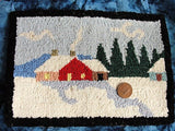 Antique GRENFELL Canada Hand Made PRIMITIVE Hooked Rug Miniature Mat Colorful Snow Cabin Scene, Charming Farmhouse Decor,Vintage Hooked Mats