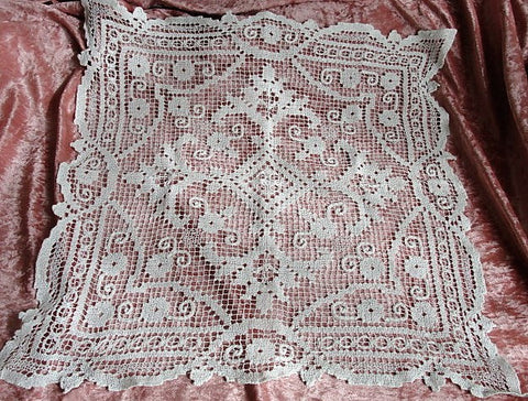 GORGEOUS Vintage Hand Made Lace Table Center,Table Topper, Large Square Doily Darned Lace,Hand Knotted Lace,French Farmhouse Wedding Doilies