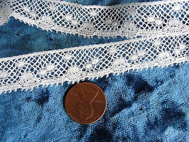 Antique BEAUTIFUL French Lace, Cotton Trim, Dainty Narrow Lace, 52 inches, For Dolls,Christening Gowns, Baby Bonnets, Bridal Heirloom Sewing