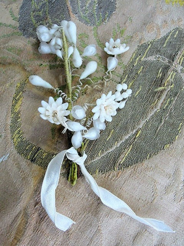 Antique WAX BOUTONNIÈRE Wax Flowers, Wedding Wax Flowers, Vintage Wedding,Wax Flower Headpiece, Wedding Headpiece, Antique Wax Flowers