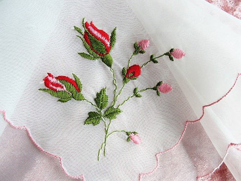 1950s VINTAGE Bridal Handkerchief Hanky Delicate Dainty Embroidered Dreamy Nylon Hankie ROSES,Something Old Bridal Gift,Collectible Hankies