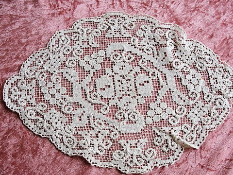 BEAUTIFUL Antique Darned Net Lace Doily Decorative Oval Lace Centerpiece,Vintage Linens and Lace,Chateau Chic,French Country,Farmhouse Decor