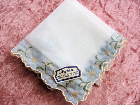 1950s VINTAGE Bridal Handkerchief Hanky Delicate Dainty Blue Flowers Nylon Hankie,Original paper label, Something Old Bridal Bridesmaid Gift