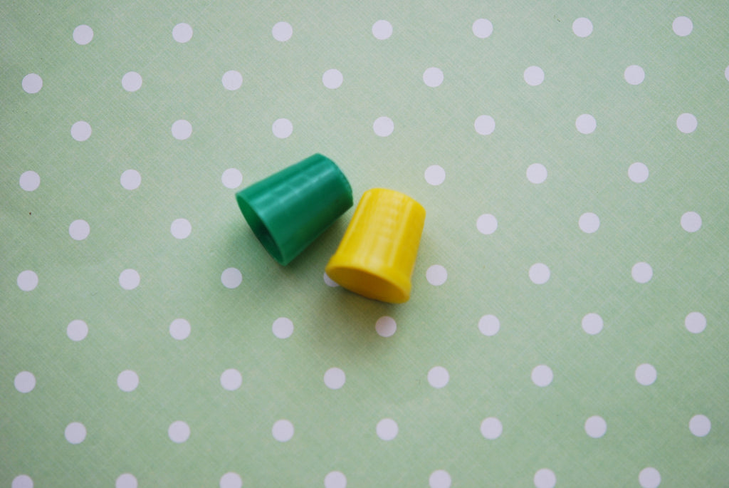 1930s Vintage Yellow and Green Celluloid Thimbles Retro Sewing Supplies