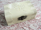 BEAUTIFUL Antique Victorian Box,Embossed Ivory Celluloid Box,Jewelry Box,Dresser Vanity Box,Lovely Design,Ornate Clasp,Collectible Celluloid