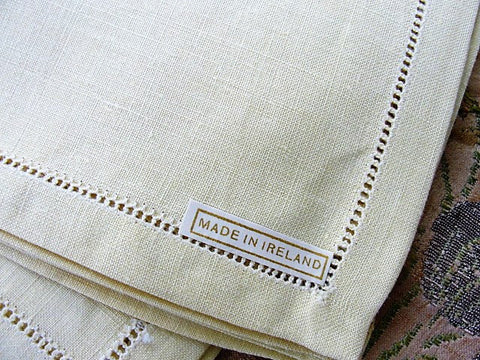 BEAUTIFUL Vintage Irish Linen Set of 4 Tea Time Luncheon Napkins, Buttery Yellow, Quality Vintage Linens, Luxury Table Linens, Fine Dining