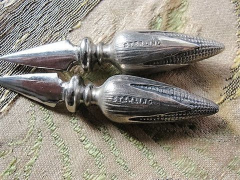 ANTIQUE Sterling Silver Pair of Corn Cob HOLDERS Lovely Details,Corn Lover,Collectible Sterling Silver, Vintage Silverware, Fine Dining