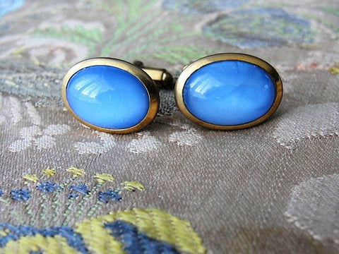 ANTIQUE Gents CUFFLINKS, Blue Chalcedony Like Stones,Stylish Links,Cuff Links,Blue Stones,Gentlemens Cufflinks,Vintage Wedding, Mens Jewelry