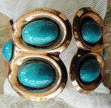 50s ATTRACTIVE Matisse Enamel Copper Clamper Bracelet Gorgeous TURQUOISE Enamel Pretty Rose Copper,Wide Cuff Bracelet,Signed Vintage Jewelry