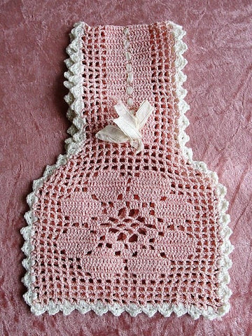 ADORABLE Antique Pink Crochet Little Girls Purse, Perfect Wedding Flower Girl Bag, Pretty Rosy Pink,Edged White,Hand Made Crochet Lace Purse
