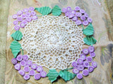 BEAUTIFUL Vintage Figural Doily Colorful Purple Grapes Creamy White Hand Crocheted Doily Farmhouse Decor, French Country Cottage,Collectible Doilies