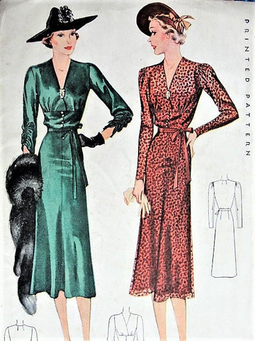 1930s DRAMATIC Evening Dress Pattern McCall 9502 Gorgeous Art Deco Style Details Bust 38 Vintage Sewing Pattern FACTORY FOLDED
