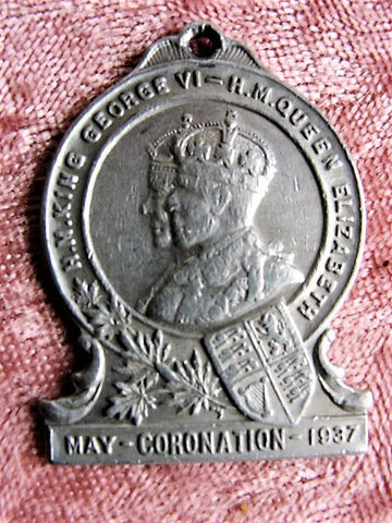 1937 CORONATION Souvenir Watch Fob,George VI Queen Elizabeth May 1937 ,Royalty Souvenir, English Royal Memorabilia, George VI Collectibles