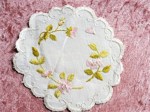 BEAUTIFUL Art Nouveau Society Silk Hand Embroidered Doily EXCEPTIONAL HandWork, Pink Roses, Fit To Be Framed ,Collectible Antique Textiles