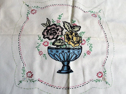 CHARMING 1930s Pillow Cushion Cover, Tinted and Embroidered Flowers Vase,Natural Heavy Cotton, Colorful Embroidery ,French Cottage,Farmhouse