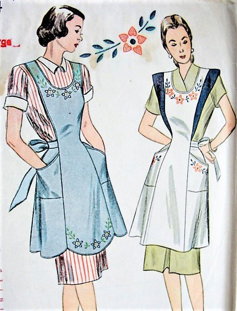 1940s FARMHOUSE Full Bib Apron Pattern Simplicity 1794 Two Pretty Aprons WW II War Time,EmbroideryTransfer Bust 38-40 Vintage Sewing Pattern