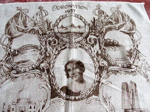 1937 CORONATION Handkerchief Queen Elizabeth Queen Mother,Royalty Souvenir Hanky,English Royal Memorabilia,RARE Collectible Royalty Item