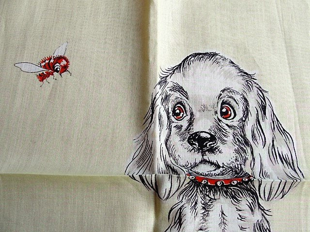 ADORABLE Mid Century Dog Hankie, Vintage Handkerchief Hanky, Spaniel Dogs Hankie, Vintage Dog Lover Hankies,Collectible Animal Hankies