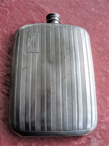 ANTIQUE Large Curved Hip Flask,Pocket Liquor Flask, English Pewter Flask,Gents Art Deco Flask, Mens Vintage Flask,Monogram deW, Gift For Him
