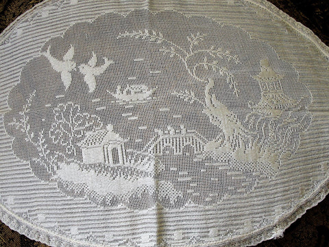ANTIQUE Old Blue Willow Lace Doily, Lace Old Willow Pattern, Lace Centerpiece, Perfect Tray Cloth Doily,Blue Willow,Farm House, French Decor