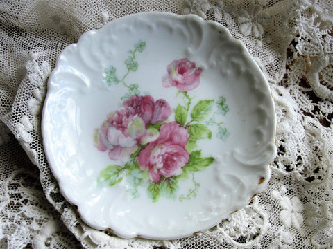 Antique LIMOGES GDA Butter Pat,Pink Roses,Embossed Pattern,Butter Pats,Pin Dishes,Tea Bag Plates,Vintage Butter Pats,Farmhouse,French Decor