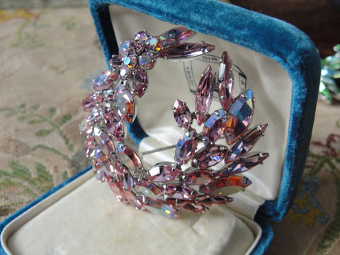 Vintage SHERMAN Signed Glittering PINK Rhinestones Brooch,Prong Set,Brilliant Rhinestones,Dazzling Swarovski Crystal,Collectible Jewelry