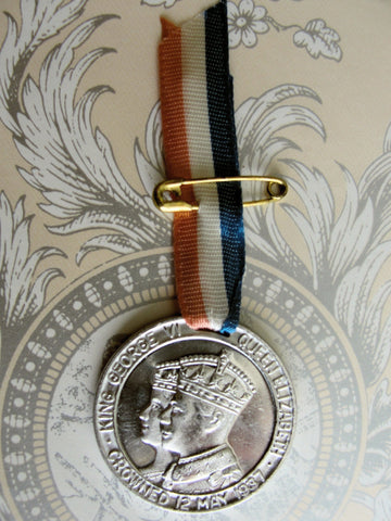 1937 CORONATION Souvenir Medal n Ribbon,George VI Queen Elizabeth May 1937,Royalty Souvenir,English Royal Memorabilia,George VI Collectibles