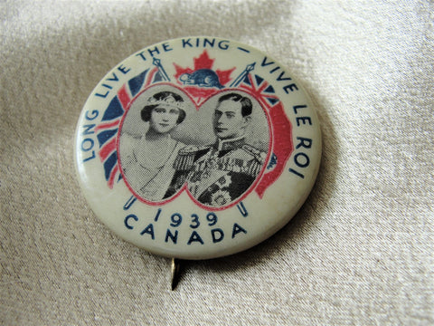 1939 ROYAL Visit Souvenir Pin Button,George VI Queen Elizabeth,Royalty Souvenir,English Royal Memorabilia,George VI Collectibles,Royalty