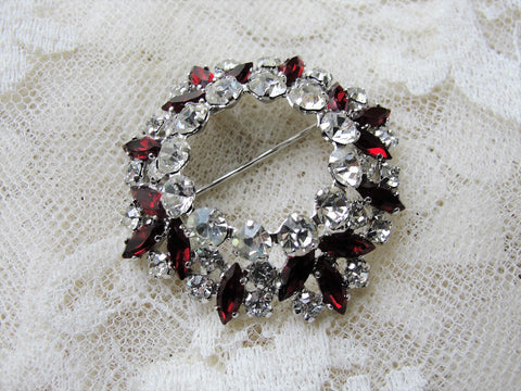 Vintage SHERMAN Signed Glittering White and Garnet Red Rhinestone Brooch,Prong Set,Brilliant Dazzling Swarovski Crystal,COLLECTIBLE Jewelry