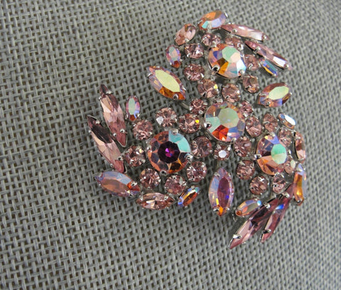 Vintage SHERMAN Signed Glittering PINK AB Rhinestones Brooch,Prong Set,Brilliant Rhinestones,Dazzling Swarovski Crystal,Collectible Jewelry